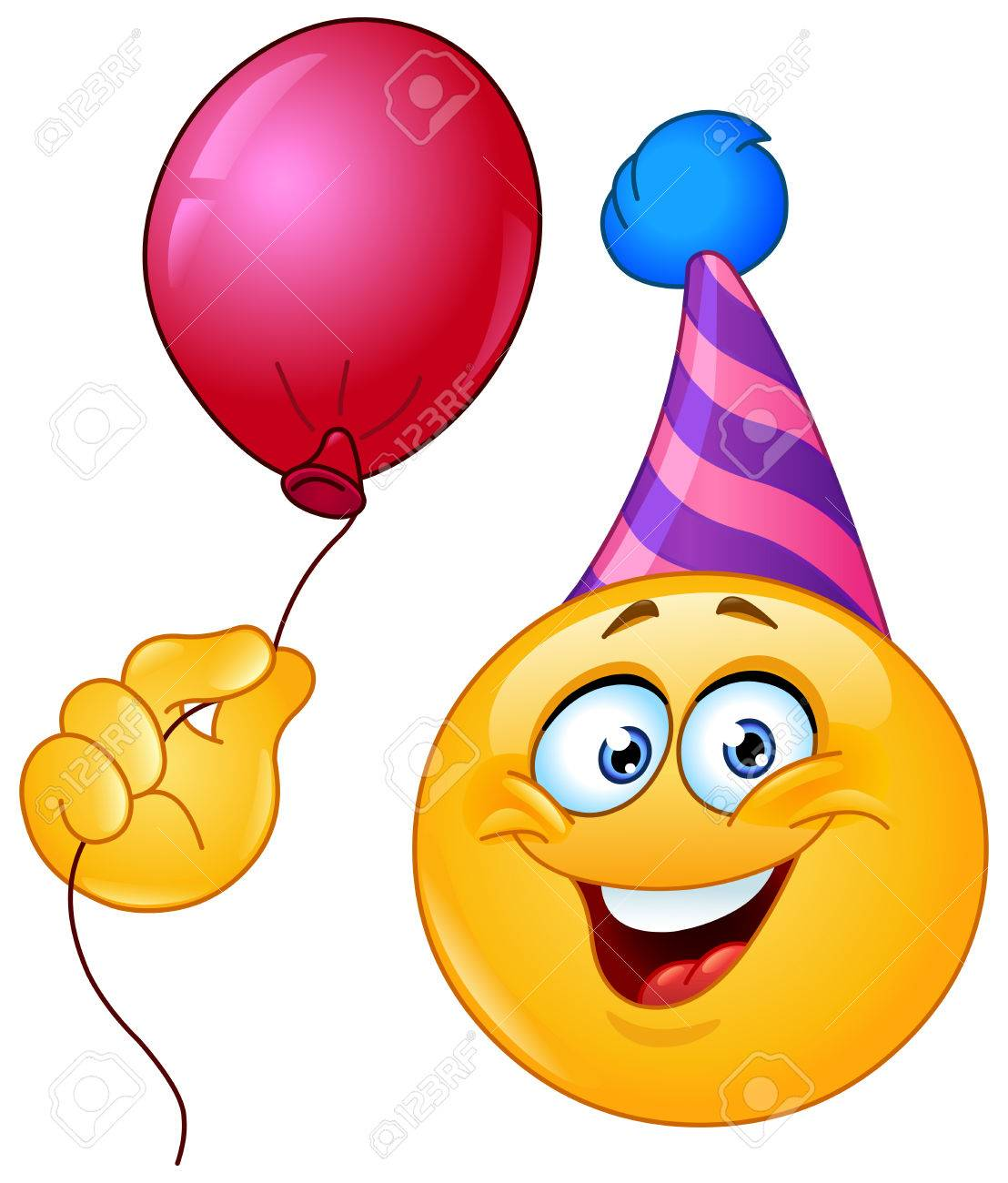 Birthday Emoticon With Party Hat Holding A Balloon Stock Vector