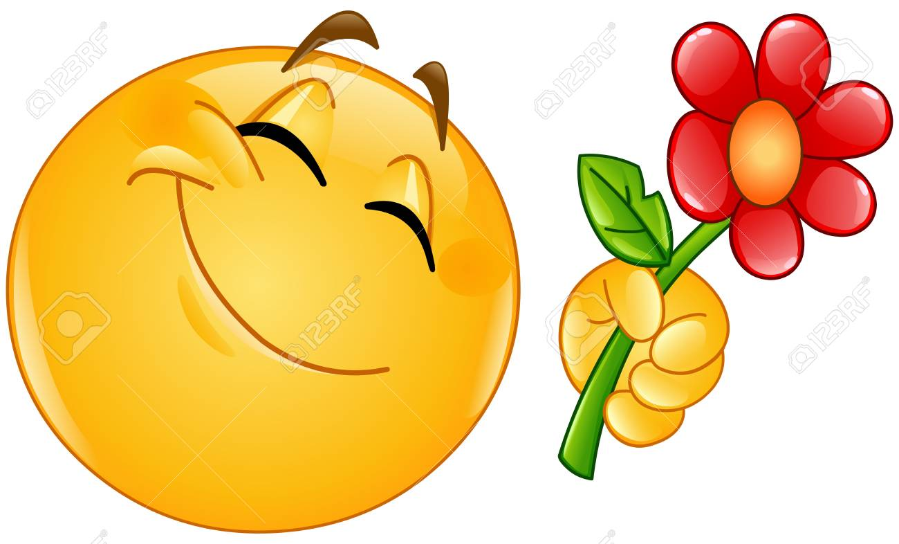 Happy emoticon giving a flower vector illustration. - 94656321