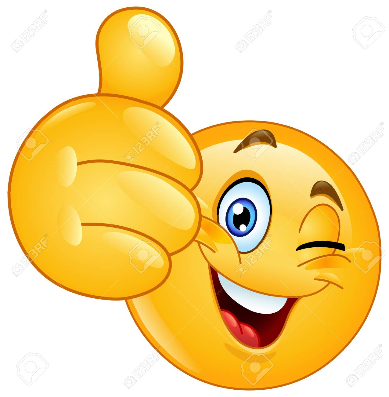 Emoticon winking and showing thumb up - 106275794