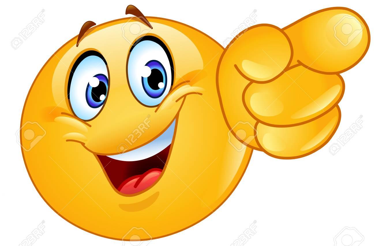 Emoticon pointing forward - 125884423