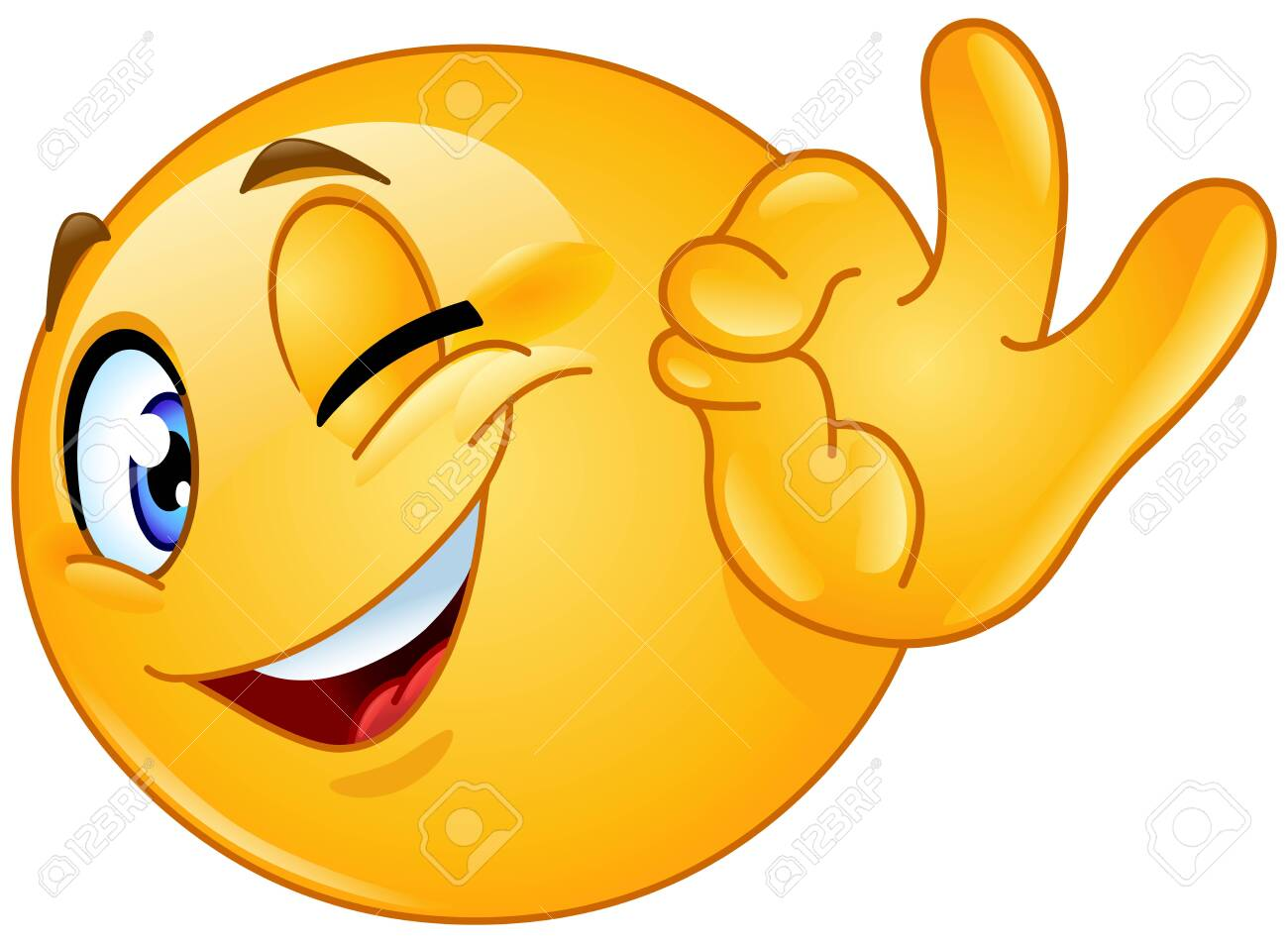 Winking emoticon showing ok sign - 124297445
