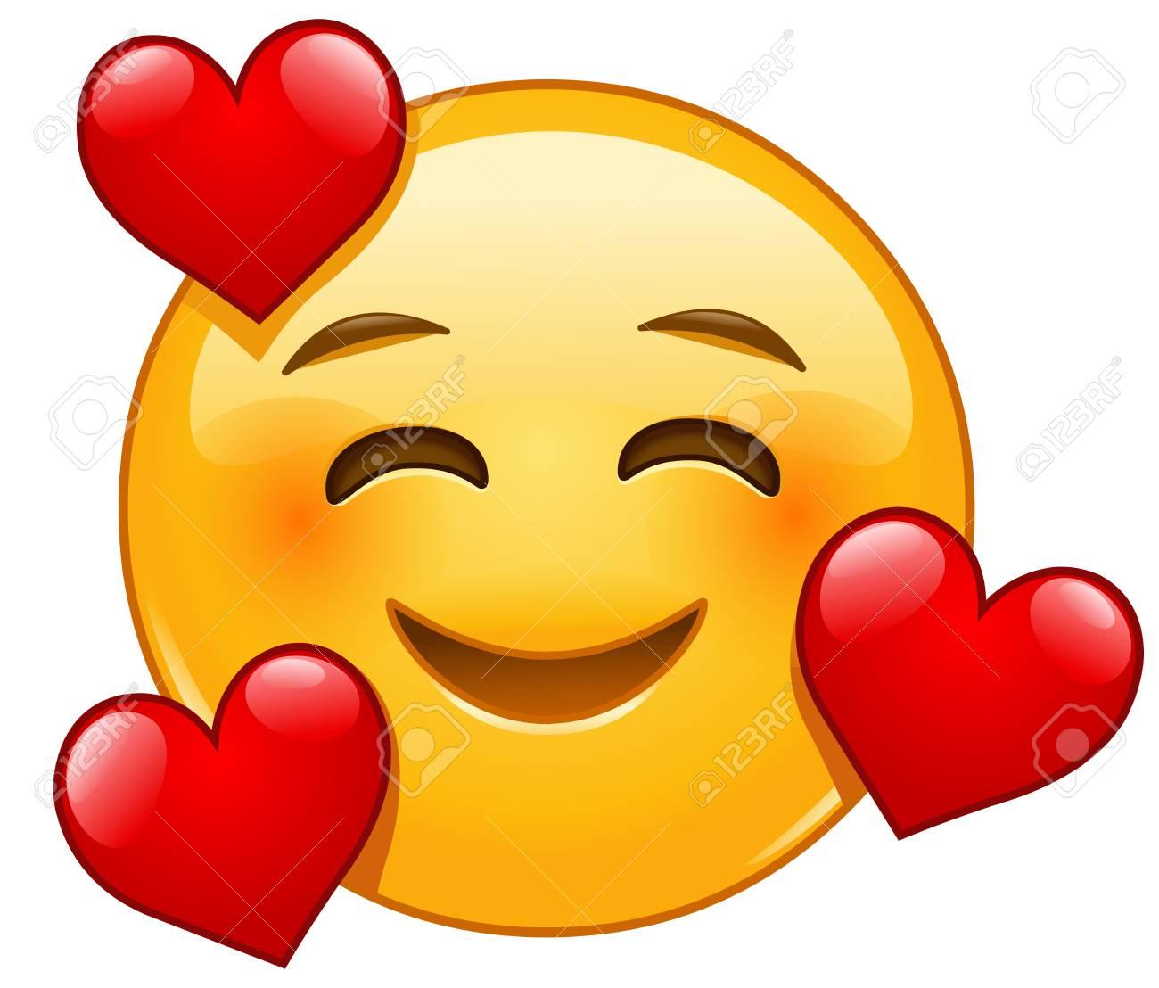 Smiling face with three hearts emoji emoticon - 123650142