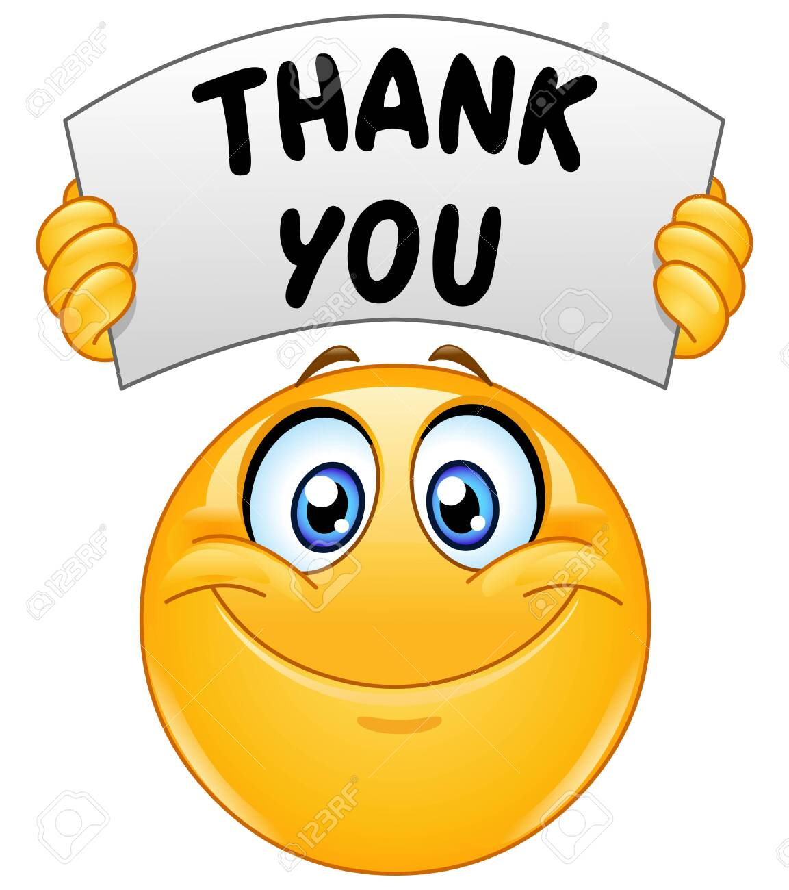 Happy emoji emoticon holding a sign with the text thank you - 129973135