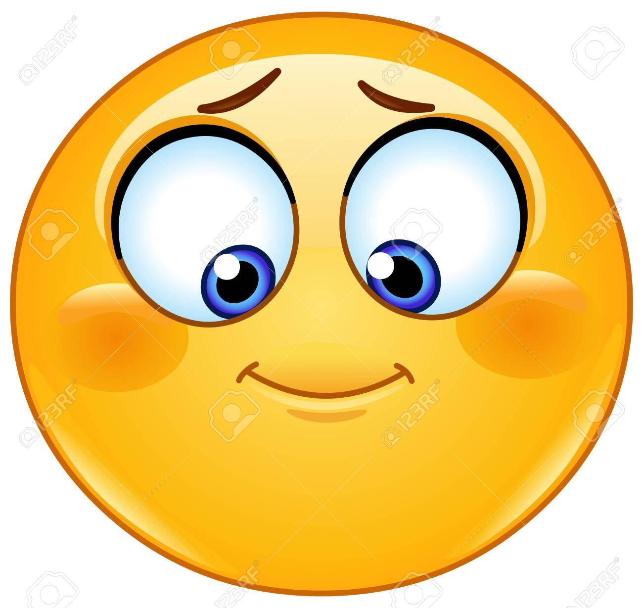 Shy emoji emoticon looking down - 138900512