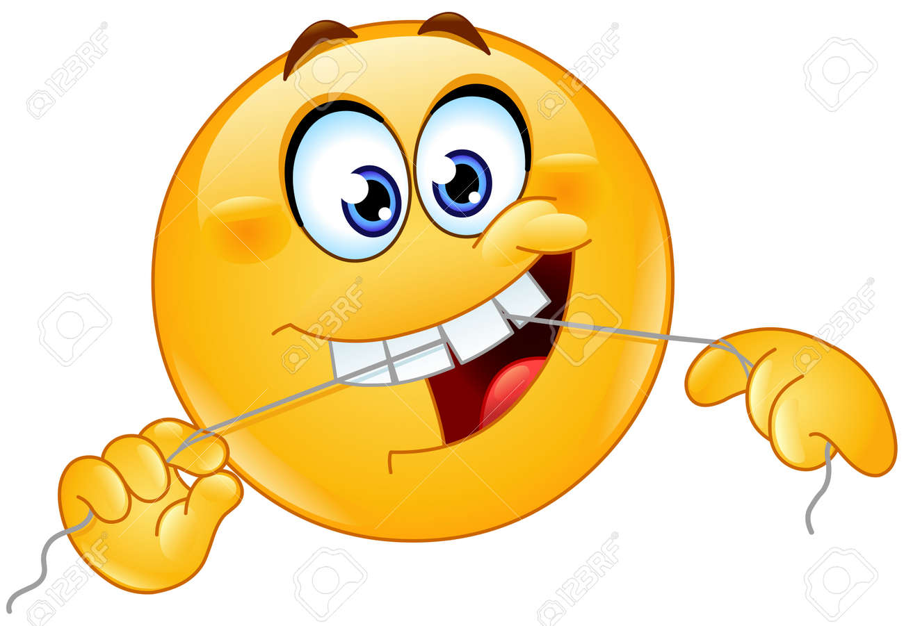 Emoji emoticon cleaning his teeth with a dental floss - 159659169