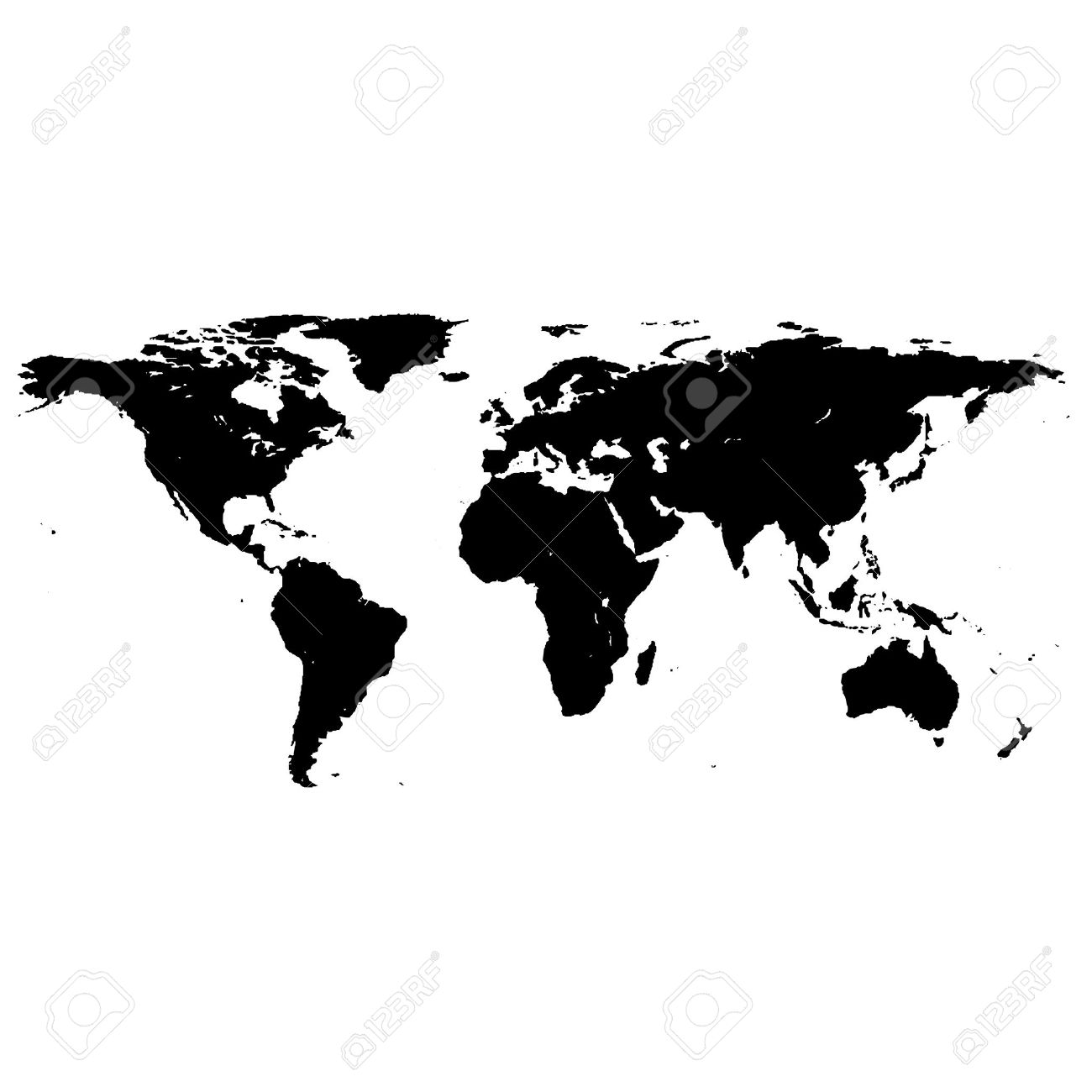 Black White World Map Royalty Free Cliparts, Vectors, And Stock ...