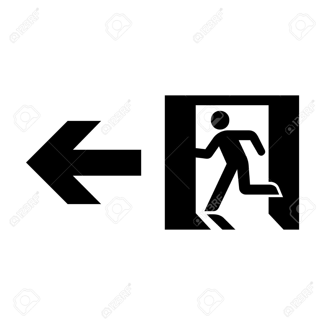vector emergency exit sign on white illustration eps10 royalty free