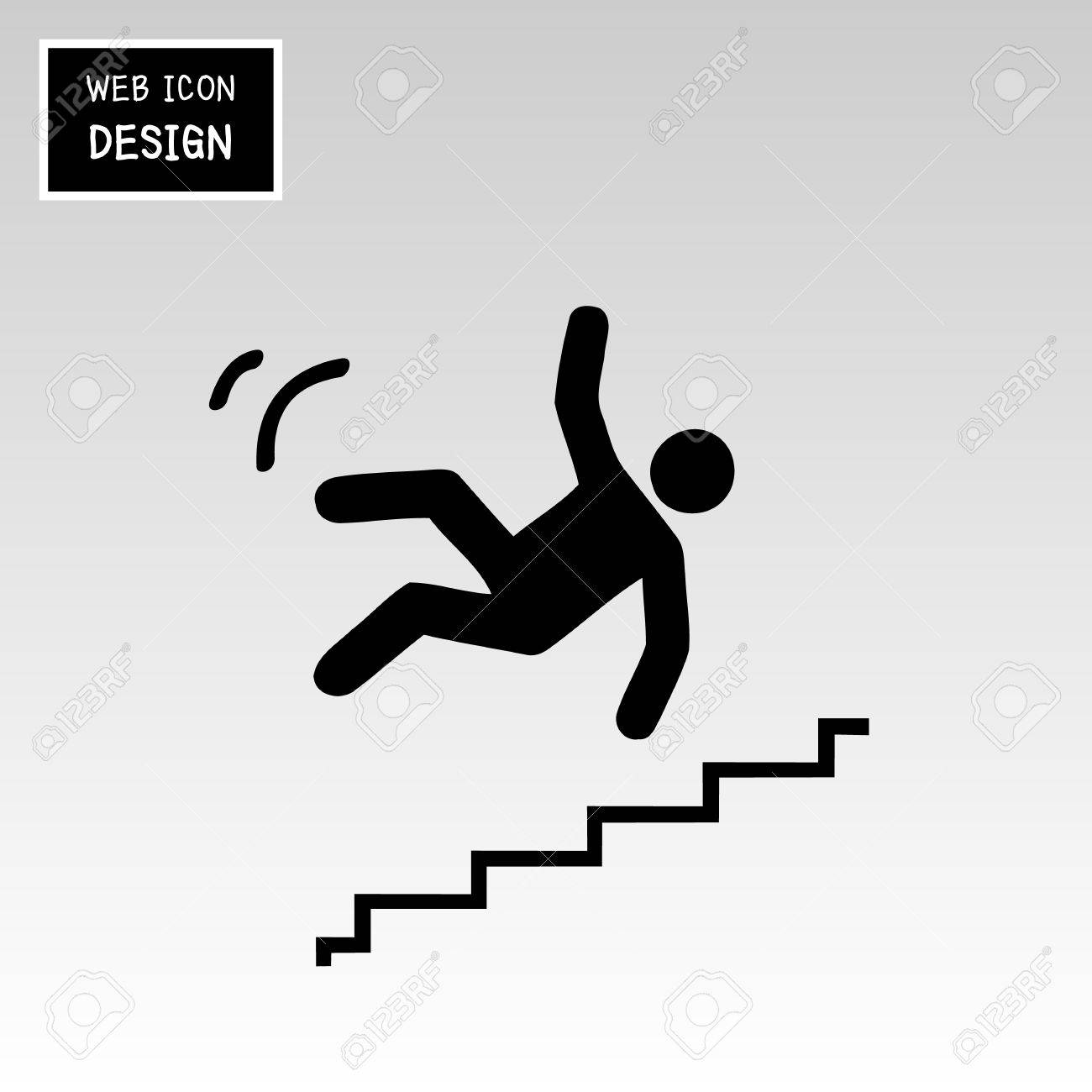 Vector   Vector Slippery Stairs Warning Sign Illustration Isolated On White  Background Great For Any Use.