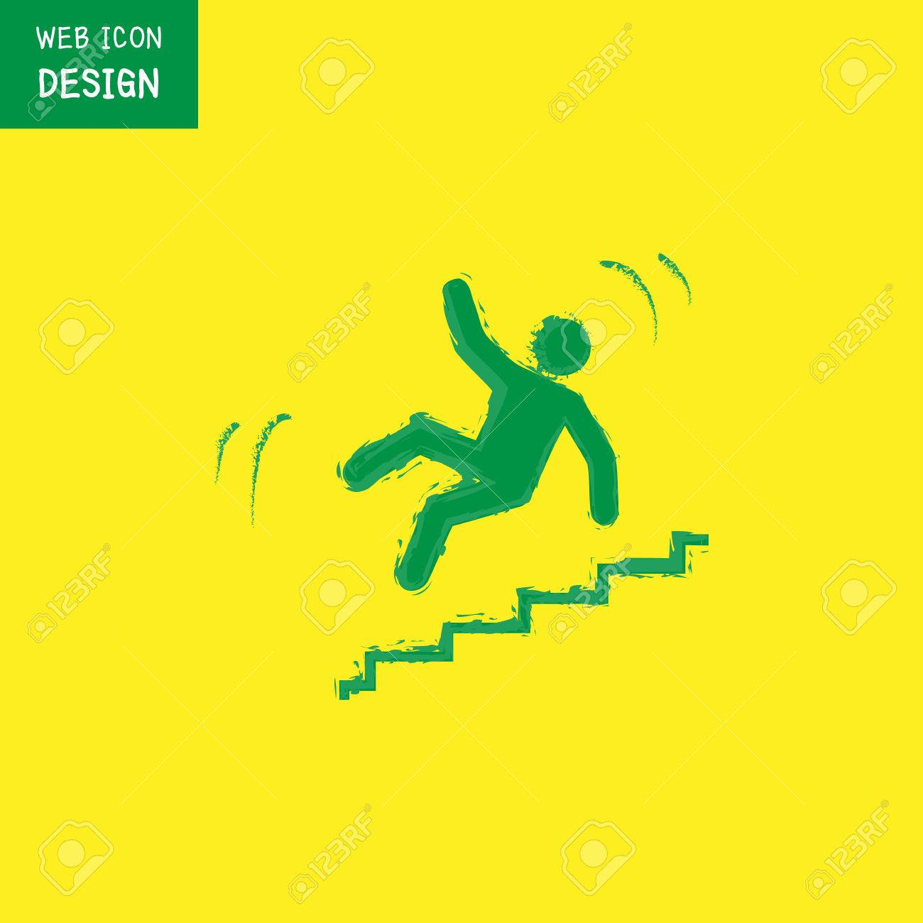 Vector   Vector Slippery Stairs Warning Sign Illustration Isolated On  Yellow Background Great For Any Use.