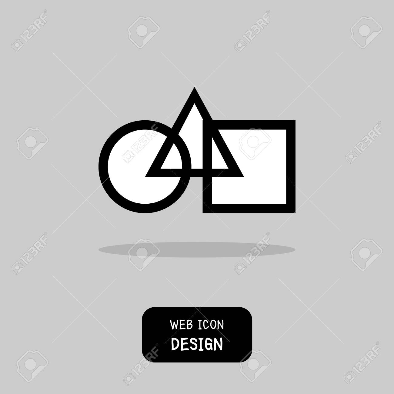 Vector Interlocked Circle Triangle And Square Geometric Symbols