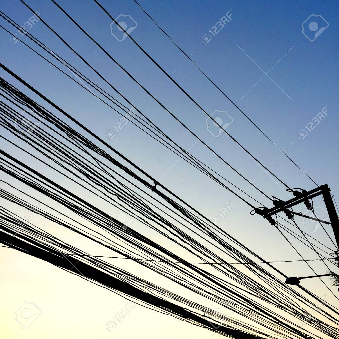 Wire In The Sky Background Great For Any Use. Stock Photo, Picture ...
