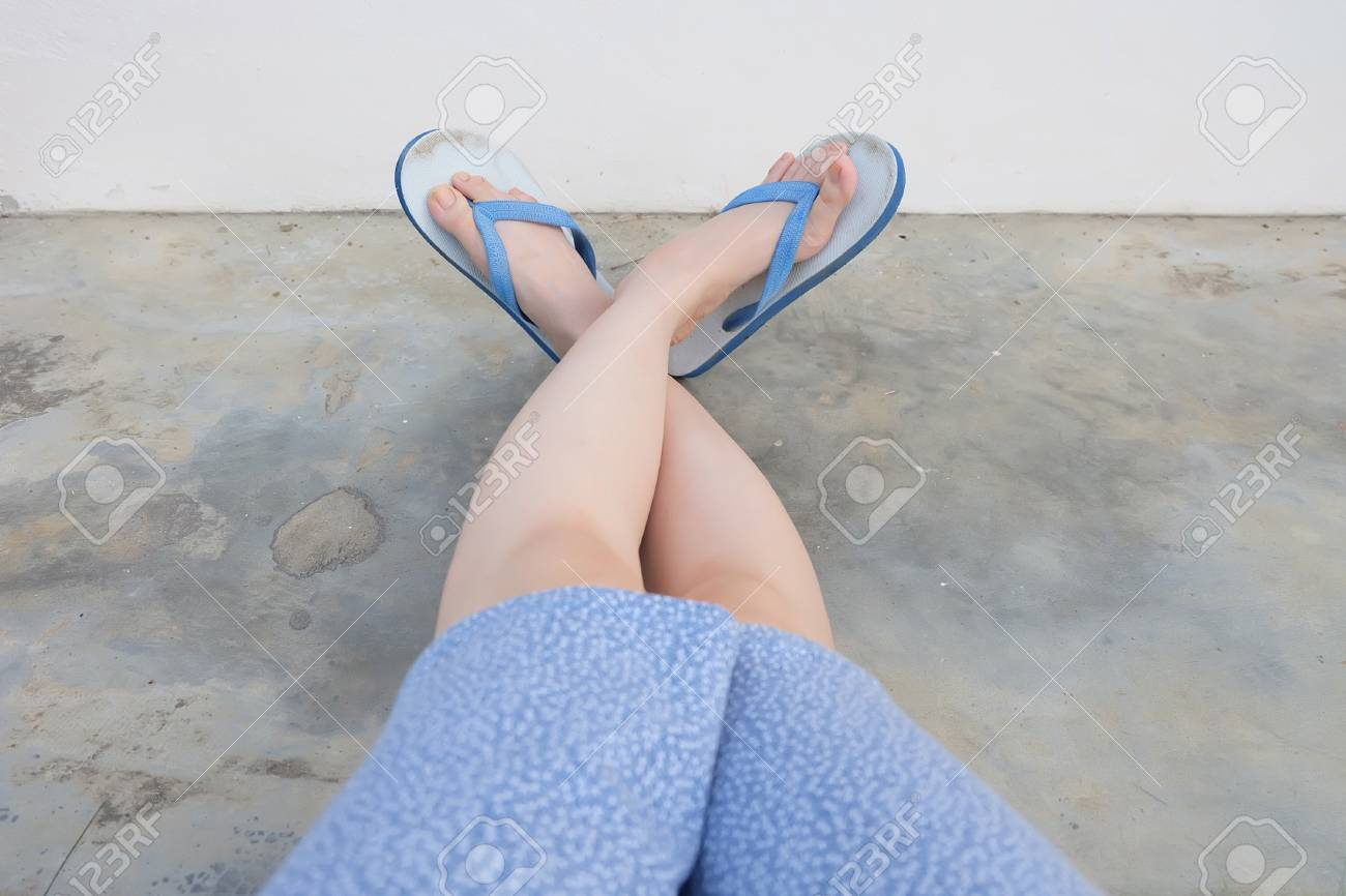 Selfie Blue Shoes Isolated On Concrete Floor For Top View WomanaEURTMs