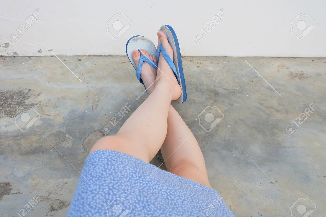 Selfie Blue Shoes Isolated On Concrete Floor For Top View Womans Feet Wearing Dress