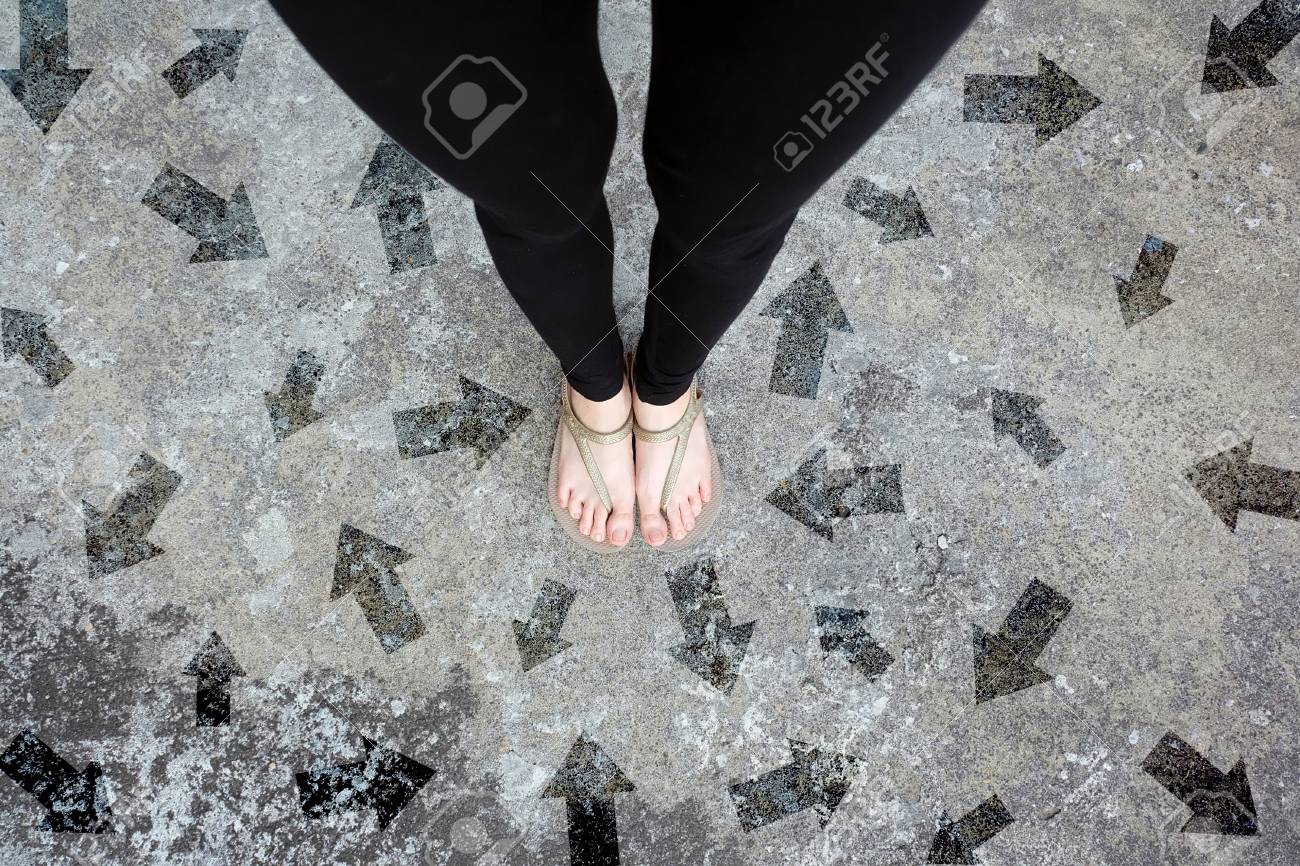Gold Shoes Isolated On Concrete FloorTop View Woman