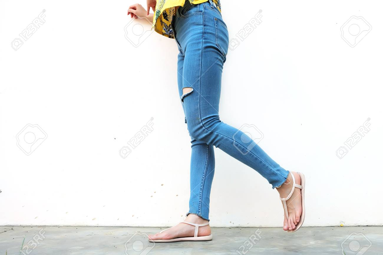 56786bfdce47 Stock Photo - Summer Fashion Nude Sandal (Footwear) and Slim Legs in The  City