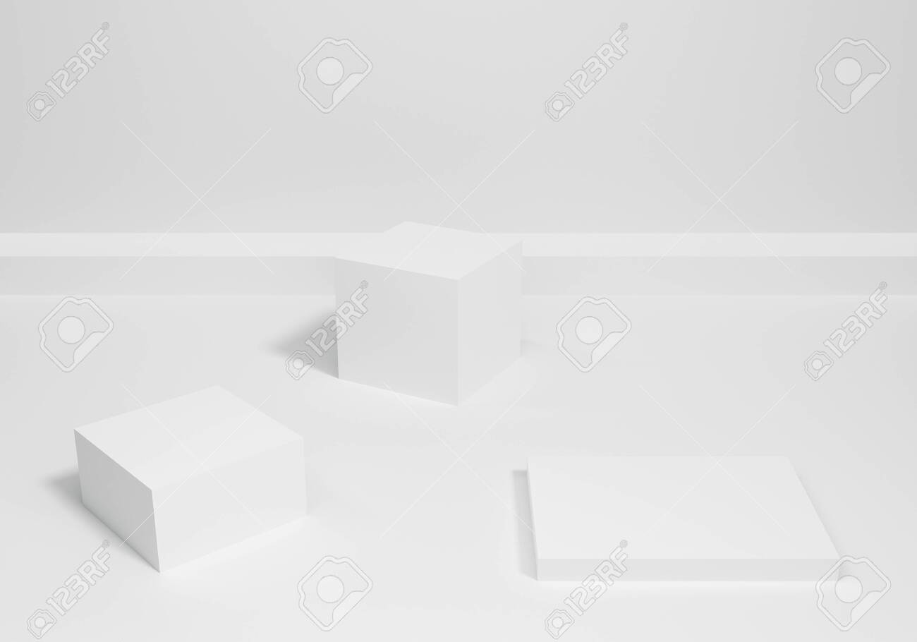 Abstract white blank empty podium on wall background scene with geometric shape for mockup room. 3d rendering design. Pedestal for display product. 3d white stand in minimal interior. - 159102130