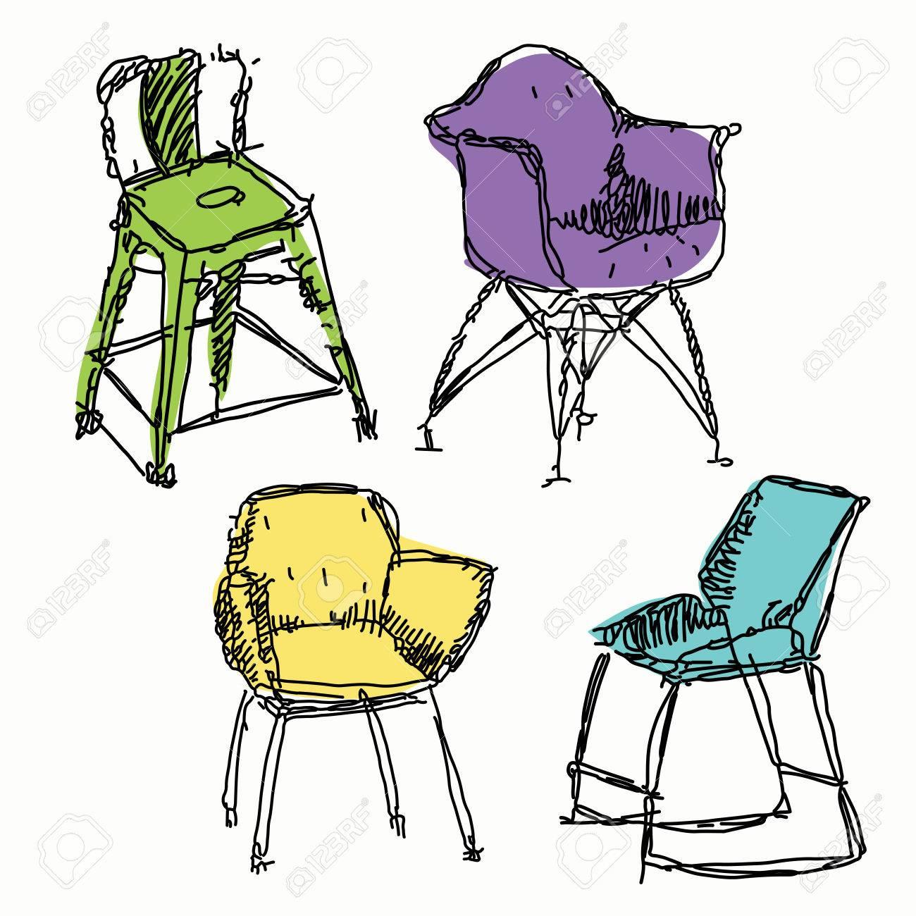 Zeitgenössische Möbel Kritzeleien Stühle In Verschiedenen Farben ...