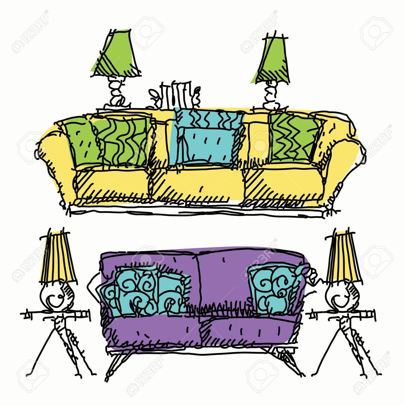 Zeitgenössische Möbel Kritzeleien Sofa In Andere Farbe. Lizenzfrei ...