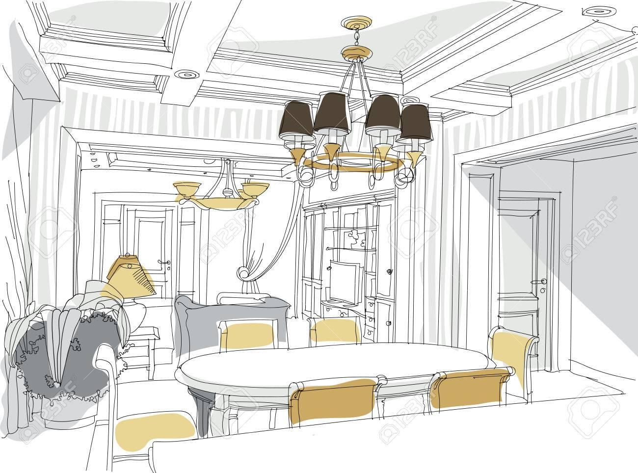 contemporanea interno soggiorno doodles in stile neoclassico ... - Soggiorno Neoclassico 2