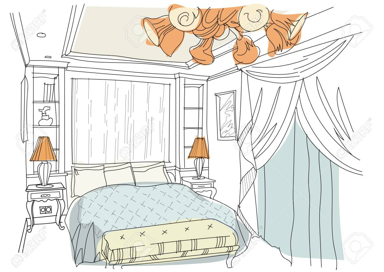 Contemporary Interior Doodles Bedroom On White Background.Living ...