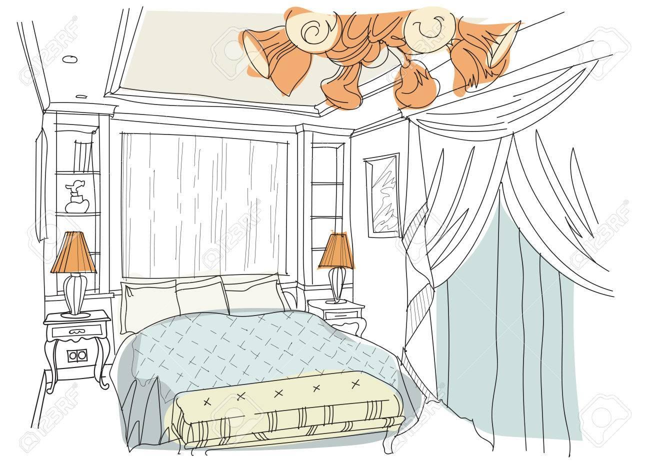 Moderne Innen Kritzeleien Schlafzimmer Auf Weissem Background Living