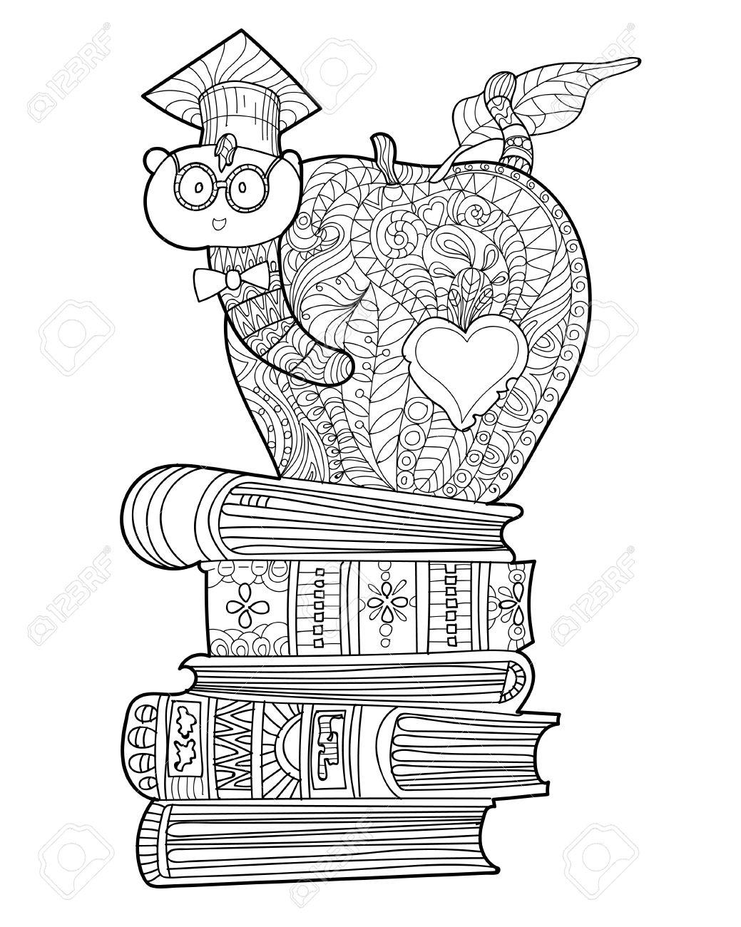 Bookworm Doodle In Der Absolventen Hat In Apfel Auf Einem Stapel ...