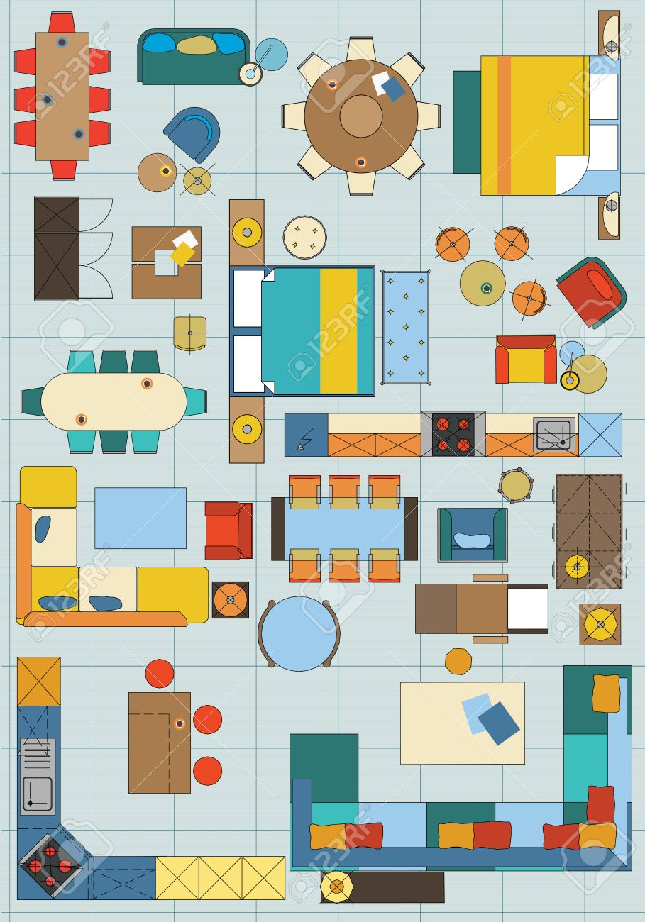 Standard Furniture Symbols Used In Architecture Plans Icons Set, Graphic  Design Elements, Home Planning