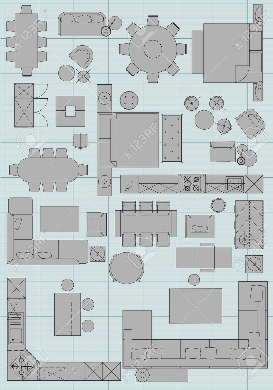 Símbolos Muebles Estándar Utilizados En La Arquitectura Planes De ...