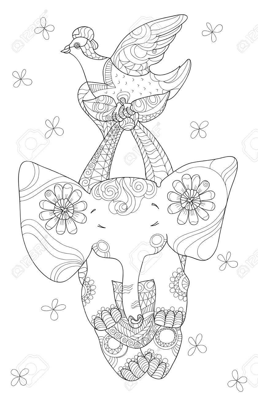 Petit éléphant mignon, noir et blanc, style de tatouage tribal totem, tiré  par f44066ff3c3