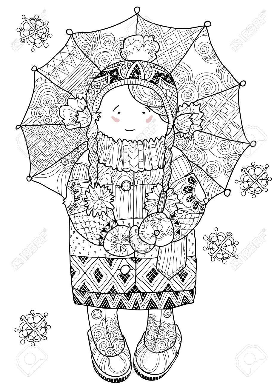 vector illustration doodle in winter snow under umbrella