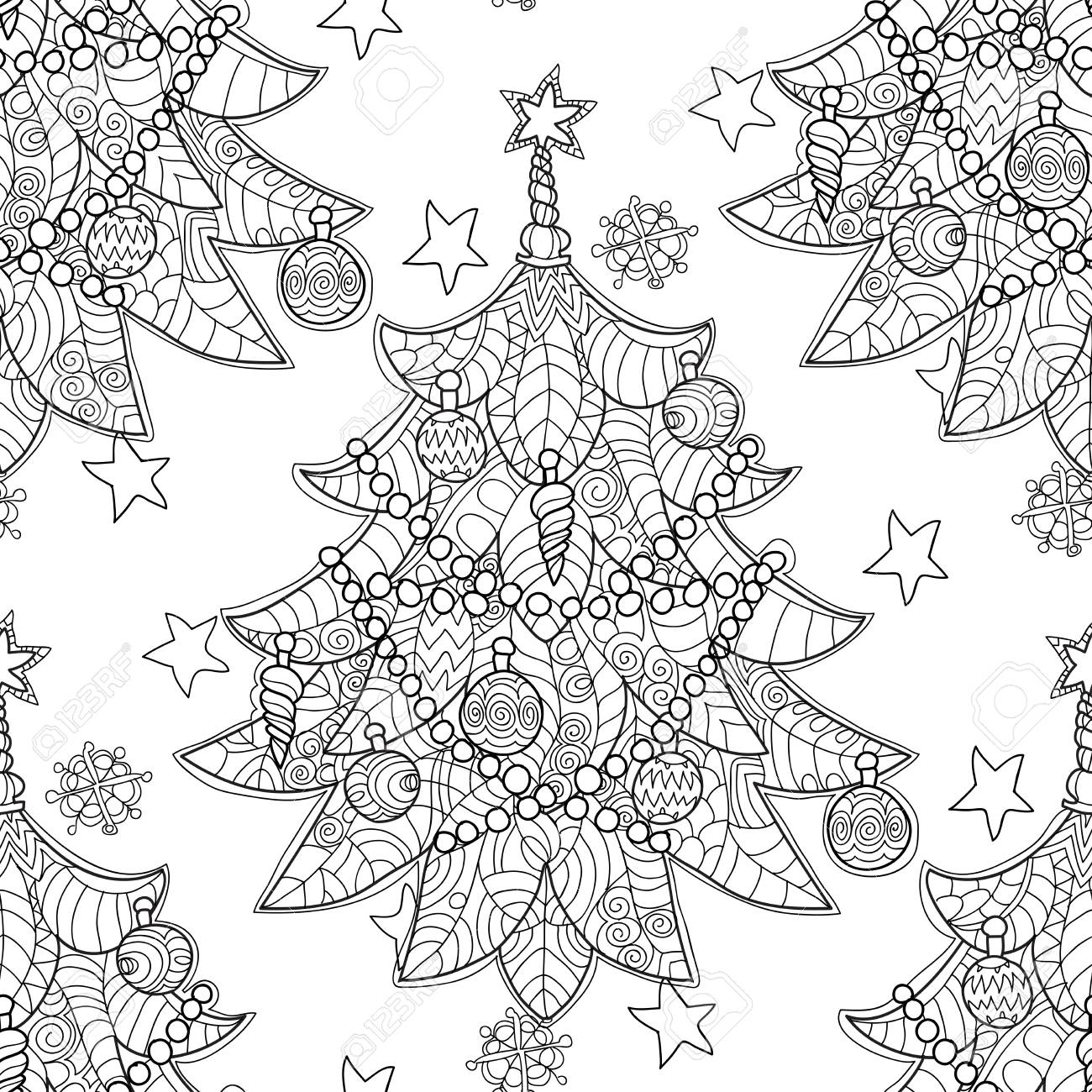 Merry Christmas Zentangle Fir Tree Doodle . Hand Drawn Vector ...