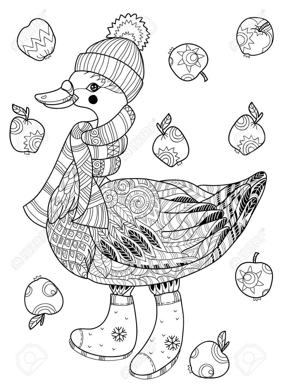 Banque d images - Oie de Noël dans drôle doodle chapeau avec collection  apples.Bird. ab8bf51b23d
