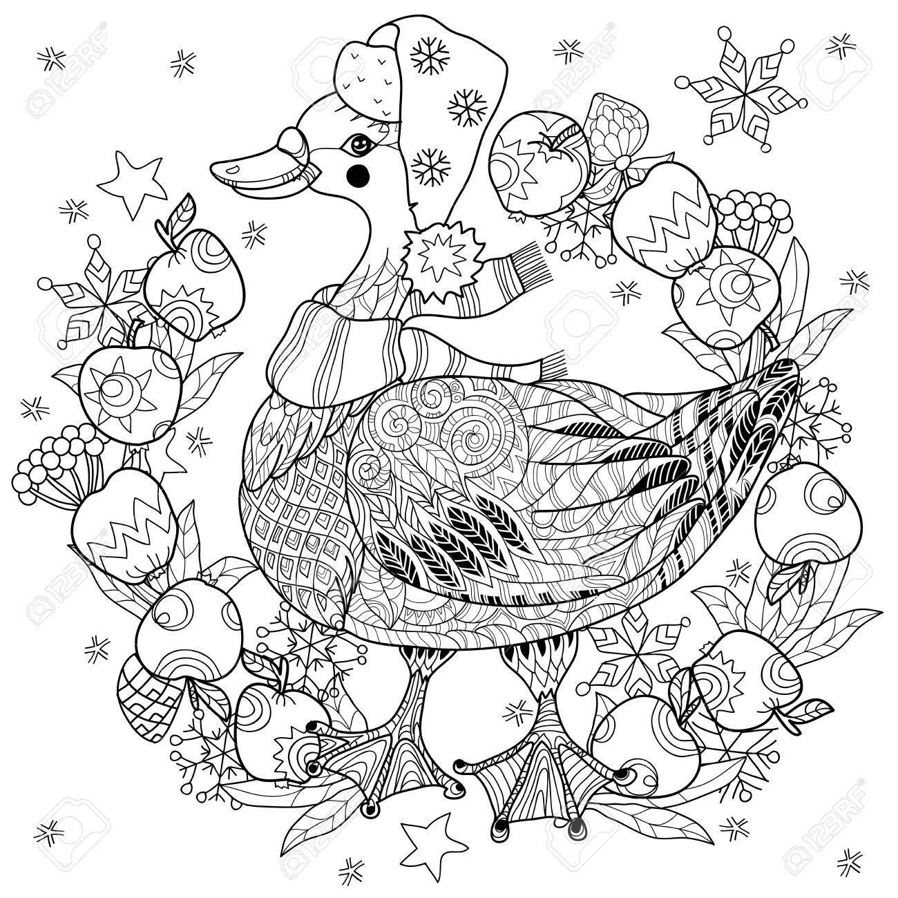 Banque d images - Oie de Noël à drôle de chapeau avec doodle collection  cadre apples.Bird. 0a60d04cfcb