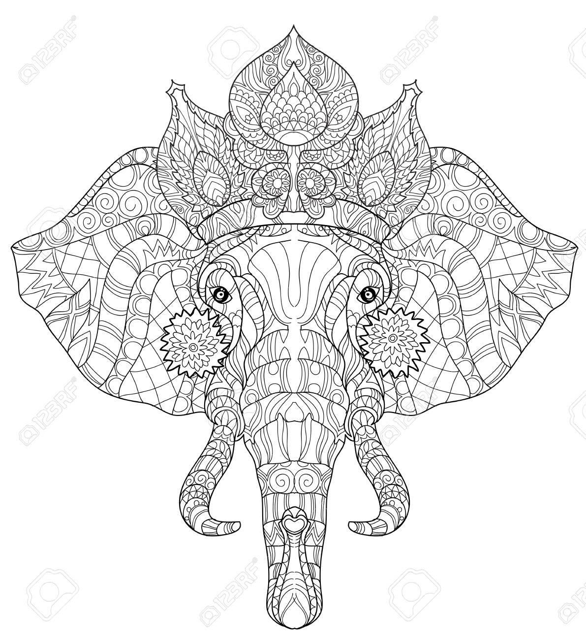 Elefante Del Doodle De La Cabeza En La Ilustración Blanca Background ...