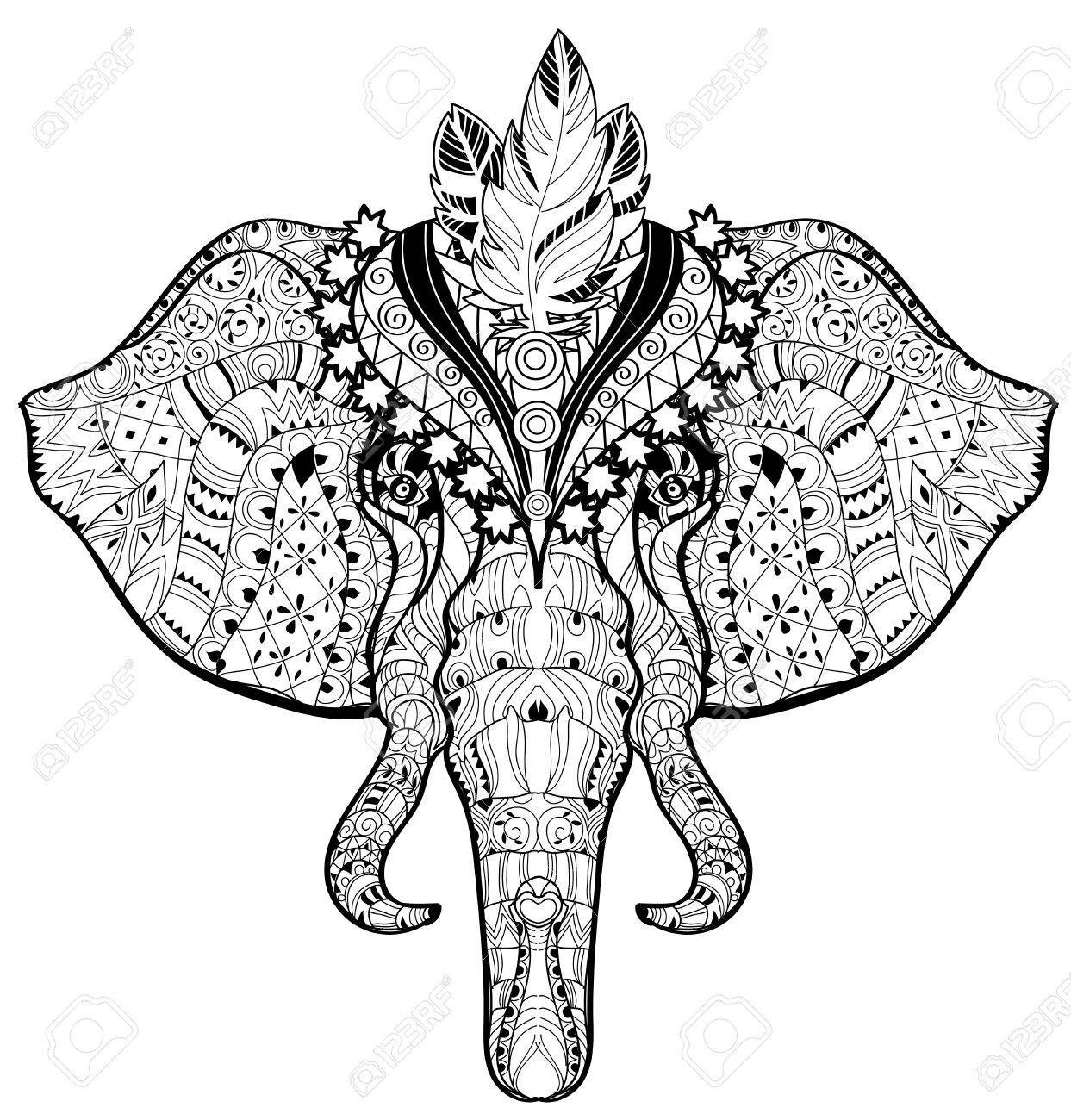 Circus Elephant Head Doodle On White BackgroundGraphic Illustration Vector Ready For Coloring Book