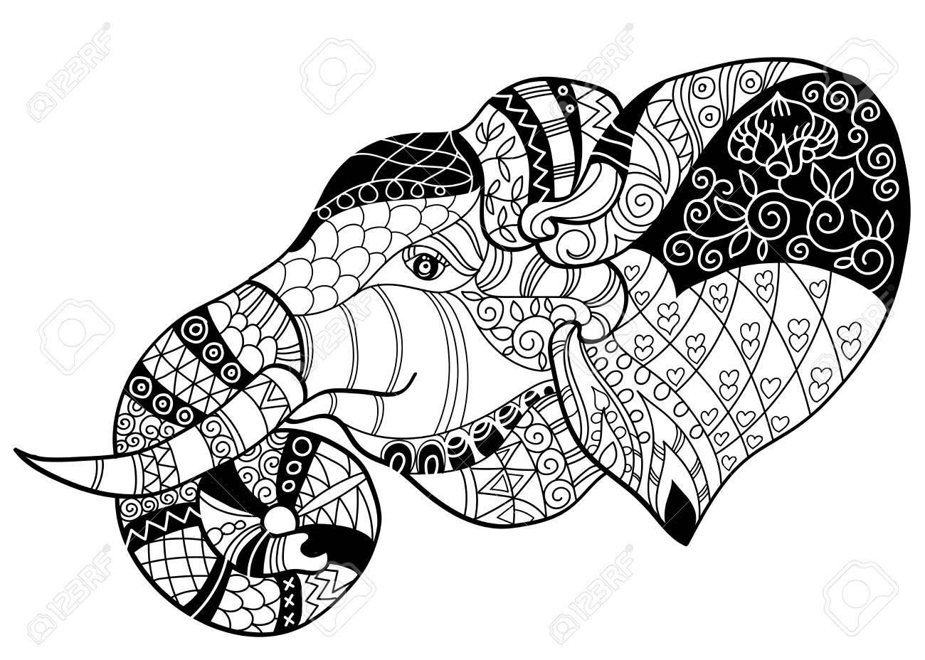 Elephant Head Doodle On White Background.Graphic Illustration ...