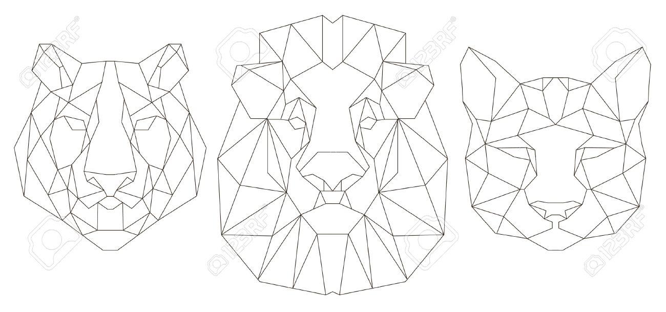 Vue De Face De Tête Danimal Icône Triangulaire Conception De La