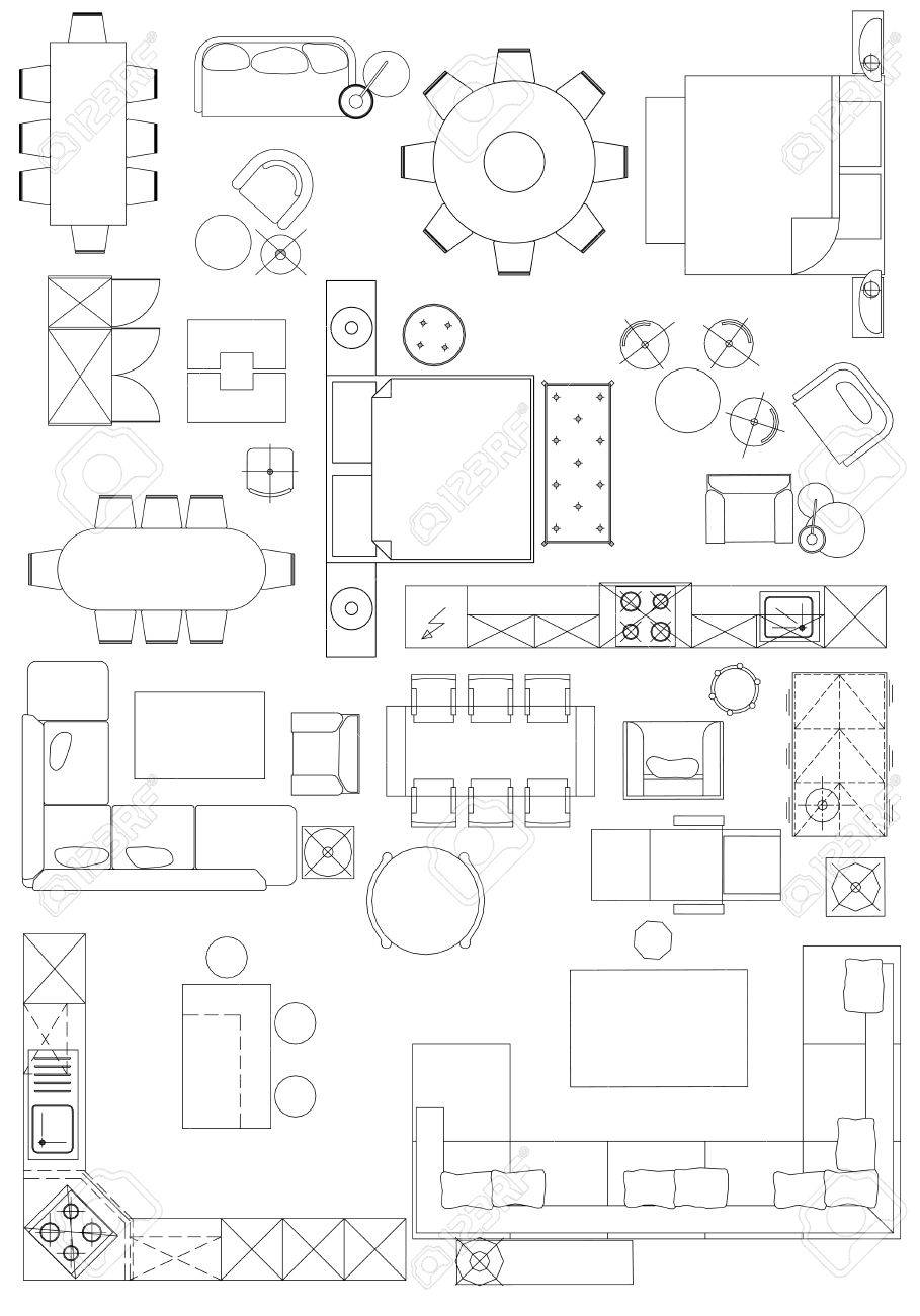 Standard Furniture Symbols Used In Architecture Plans Icons Set ...
