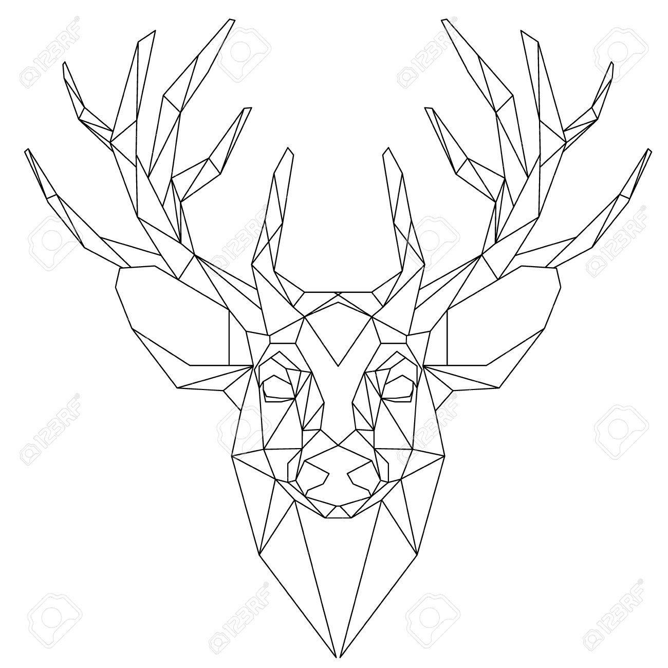Cabeza De Animal Icono Triangular Diseño De La Línea De Moda