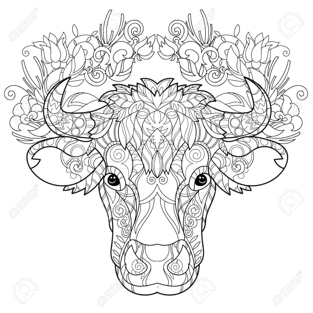 Hand Drawn Doodle Outline Cow Head Decorated With Ornaments.Vector ...