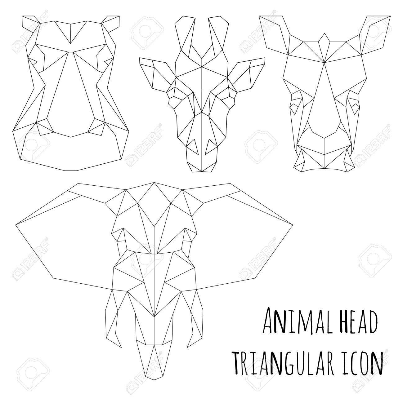 Coloriage En Ligne Rhinoceros.Tete D Animal Icone Triangulaire Conception De La Ligne A La Mode Geometrique Vector Illustration Pret Pour Le Tatouage Ou Un Livre De Coloriage