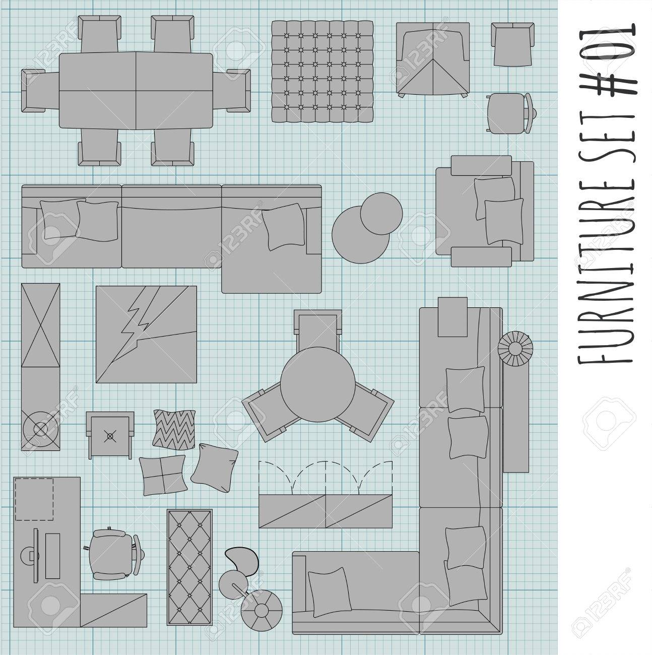 Merveilleux Standard Furniture Symbols Used In Architecture Plans Icons Set, Graphic  Design Elements,home Planning