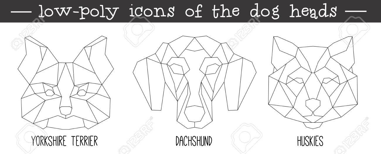 Vista Frontal De La Cabeza De Perro Triangular Conjunto De Iconos Diseño De La Línea De Moda Geométrica Ilustración Vectorial Para Tatuaje O