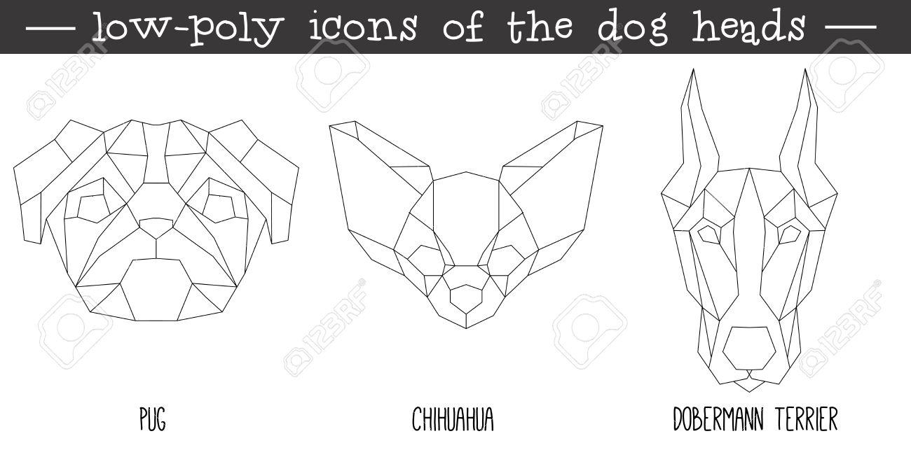 Vue De Face De La Tete De Chien Icone Triangulaire Ensemble La