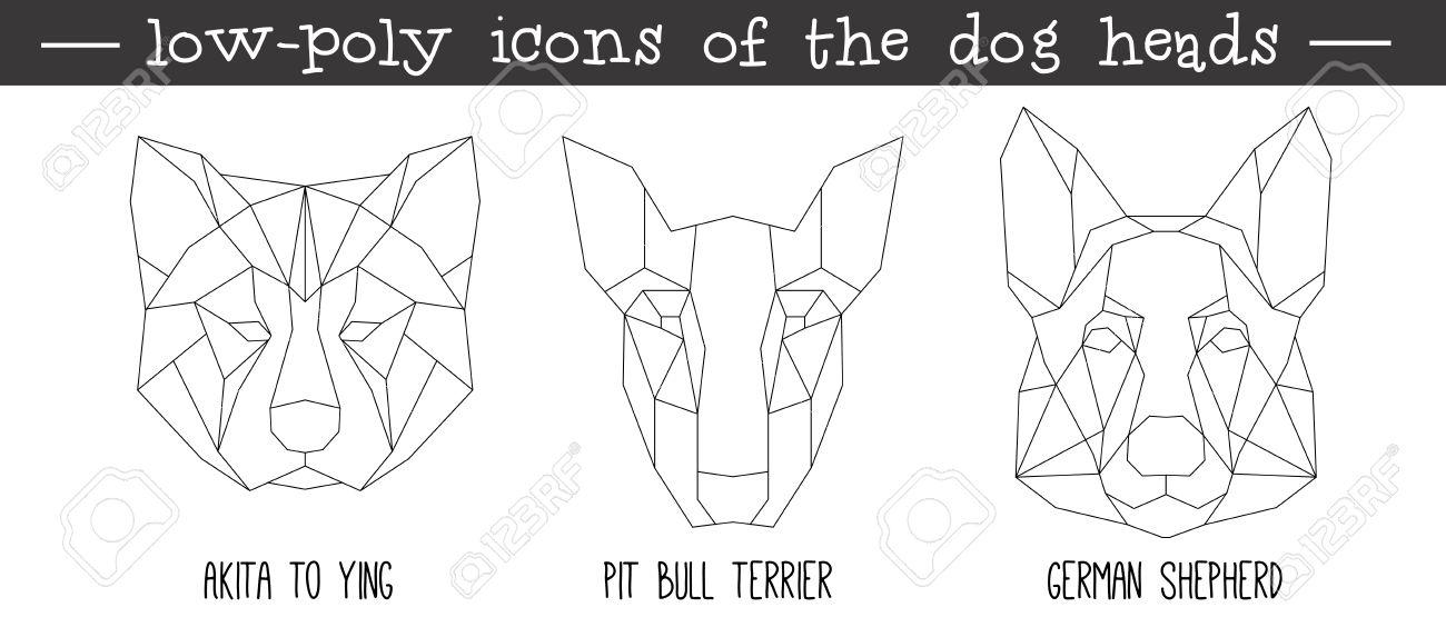 Vista Frontal De La Cabeza De Perro Triangular Conjunto De Iconos ...