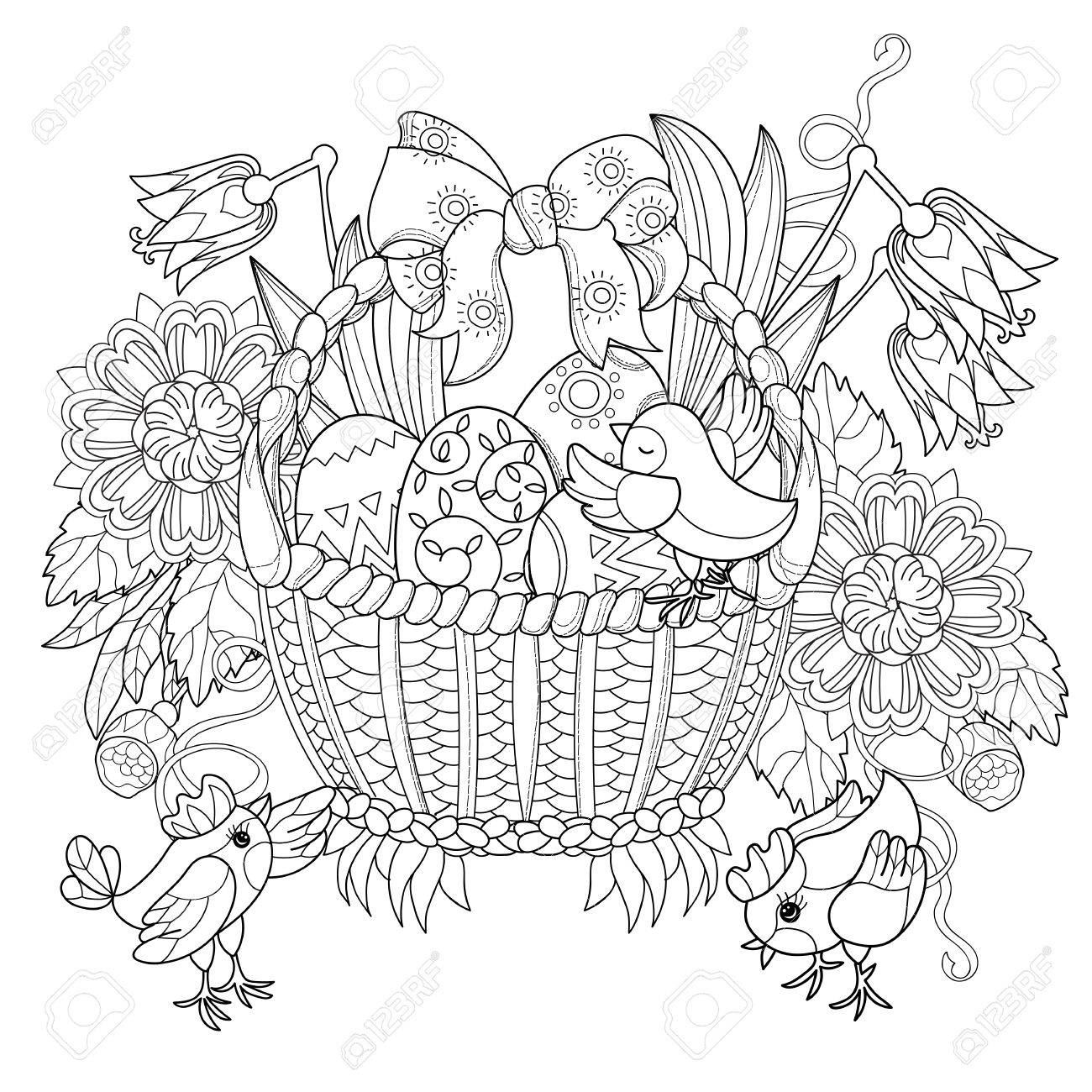 Hand Drawn Doodle Outline Easter Eggs In Basket With Chicken Decorated OrnamentsVector Illustration