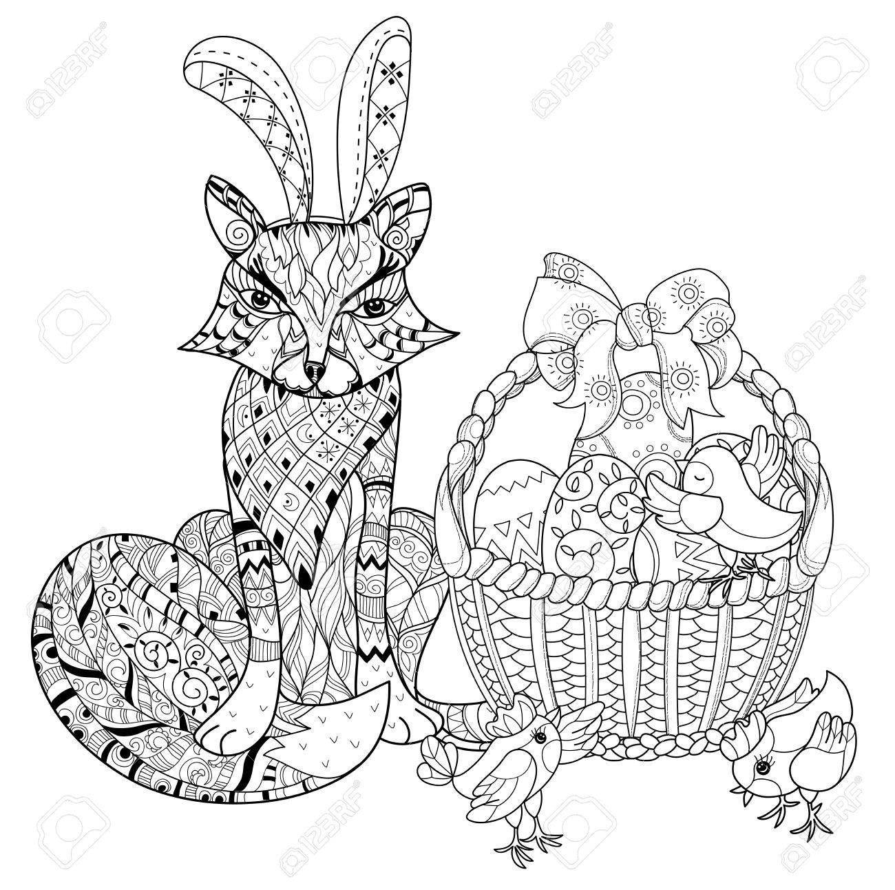Hand Drawn Doodle Outline Easter Eggs In Basket With Chicken And Fox Decorated Ornaments