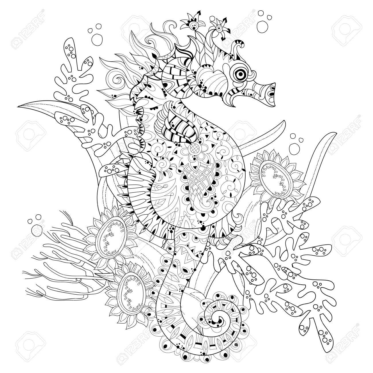 Seahorse Outline Drawing Tattoos Wiring Diagrams Signal Distribution Amplifier Circuit Diagram Tradeoficcom Hand Drawn Doodle Decorated With Ornaments Floral Rh 123rf Com Beautiful Silhouette