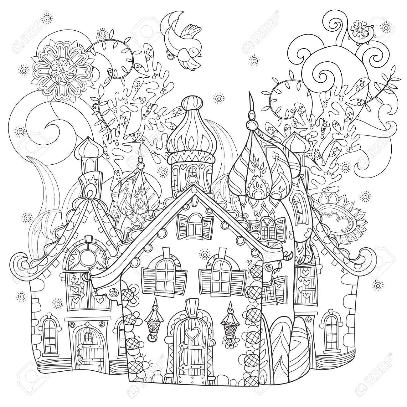 かわいいおとぎ話町の落書きイラストはがき印刷や大人の塗り絵を