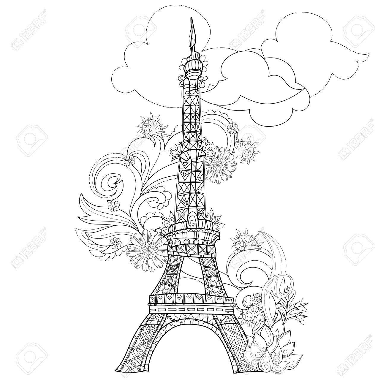 Estilizada Ilustración Dibujados A Mano De La Torre Eiffel Boceto Para El Tatuaje O Makhenda Estilo De Francia Collectionboho